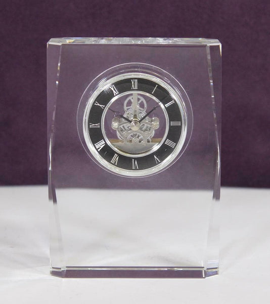David Peterson Square Desktop Lead Crystal Clock with Plated Movement by David Peterson