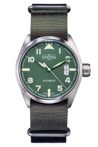 Davosa Jewellery & Watches:Watches, Parts & Accessories:Wristwatches Davosa Automatic Green Military Style Stainless Steel Wrist Watch