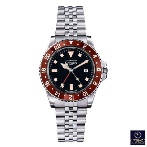 Davosa Jewellery & Watches:Watches, Parts & Accessories:Wristwatches Davosa Burgundy Bezel Vintage Diver Watch (Rootbeer)