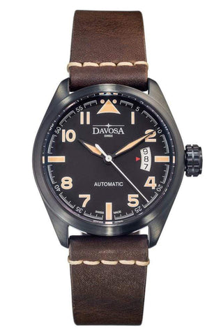 Davosa Jewellery & Watches:Watches, Parts & Accessories:Wristwatches Davosa Military Automatic Black Face Vintage Brown Leather Strap Wrist Watch