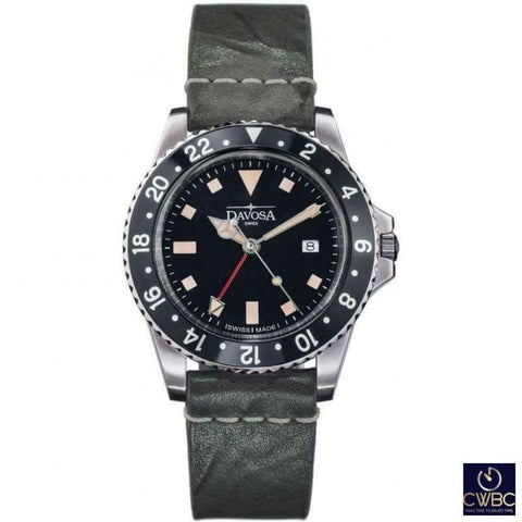 Davosa Jewellery & Watches:Watches, Parts & Accessories:Wristwatches Davosa Vintage Diver GMT Black 161.570.55.25011