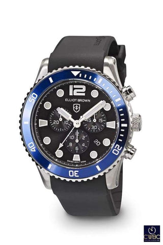Elliot Brown Elliot Brown Bloxworth Stainless Steel case watch, Black dial Blue Bezel Rubber strap