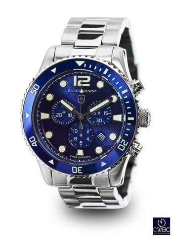 Elliot Brown Elliot Brown Bloxworth Stainless Steel case watch, Blue dial SS Bracelet
