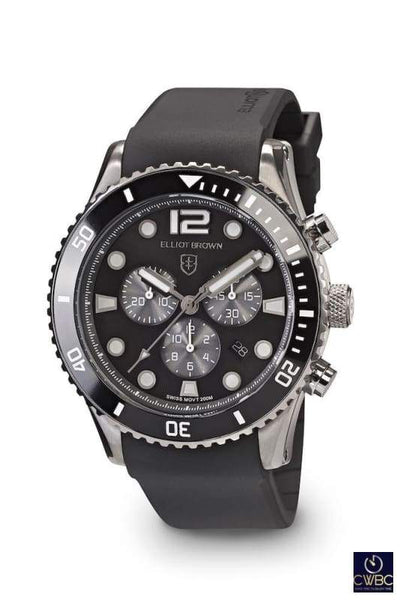 Elliot Brown Elliot Brown Bloxworth Tungsten Coated Steel case watch, Sunray Black dial Rubber Strap