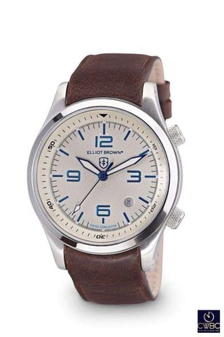 Elliot Brown Elliot Brown The Canford Stainless Steel Case Watch with Cream Dial and Leather Strap