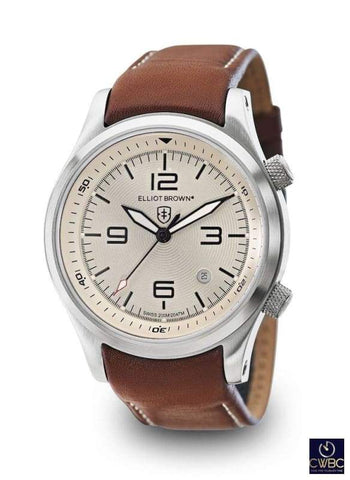 Elliot Brown Elliot Brown The Canford Stainless Steel Case Watch with Ivory Dial and Leather Strap