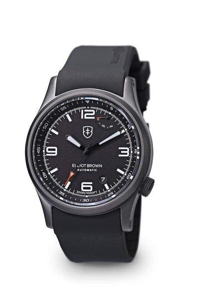 Elliot Brown Elliot Brown Tyneham Gunmetal Steel Watch with Black face and White markers, Rubber strap