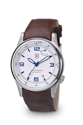 Elliot Brown Elliot Brown Tyneham Stainless Steel Watch with White face and Blue markers, Leather strap