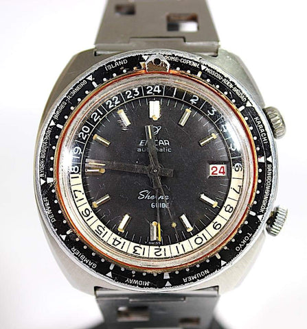 Enicar Enicar Sherpa Guide 600 GMT World Timer Super Compressor rare watch