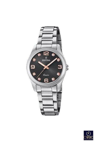 Festina Jewellery & Watches:Watches, Parts & Accessories:Wristwatches Festina Ladies Watch in Steel, Pink Gold accents & Steel Strap F20208