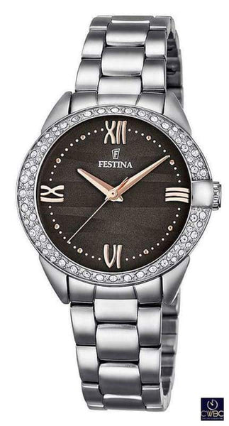 Festina Jewellery & Watches:Watches, Parts & Accessories:Wristwatches Festina Ladies Watch with Black face and Steel Bracelet F16919/2