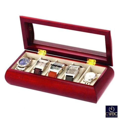 Mele & Co Jewellery & Watches:Jewellery Boxes & Supplies:Jewellery Boxes Mele & Co Cherry Lucas Red Wood Finish 5 Piece Watch Storage Box