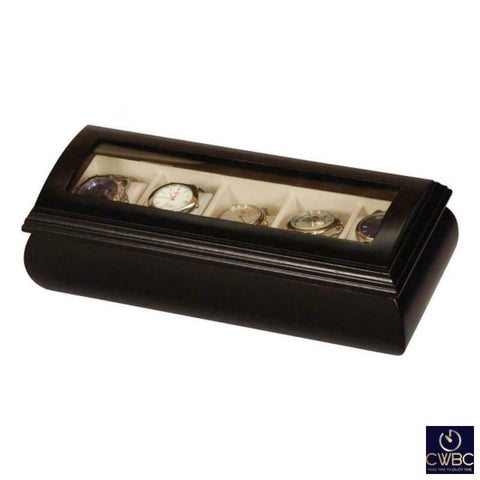 Mele & Co Jewellery & Watches:Jewellery Boxes & Supplies:Jewellery Boxes Mele & Co Java Collection Black Leather Five Piece Wrist Watch Storage Box
