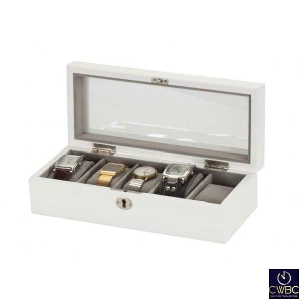 Mele & Co Jewellery & Watches:Jewellery Boxes & Supplies:Jewellery Boxes Mele & Co Silver White James 5 Piece Lockable Watch Storage Box