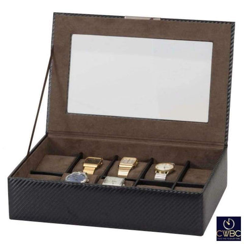 Mele & Co Jewellery & Watches:Watches, Parts & Accessories:Boxes, Cases & Watch Winders Mele & Co Carbon Collection William 10 Watch Storage Box