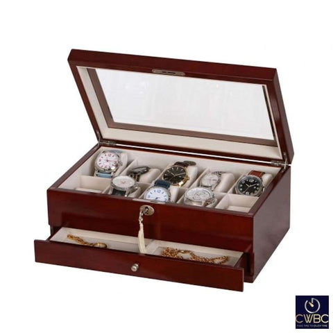 Mele & Co Jewellery & Watches:Watches, Parts & Accessories:Boxes, Cases & Watch Winders Mele & Co Christo 10 Watch Box Mahogany Finish
