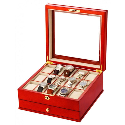 Mele & Co Mele & Co Red Wooden 15 Piece Lockable Watch Storage Box