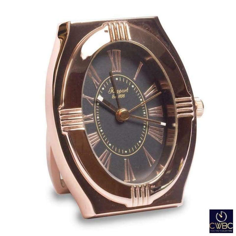 Rapport Home, Furniture & DIY:Clocks:Desk, Mantel & Carriage Clocks Rapport Embassy Black and Rose Gold A281 Travel Alarm Clock