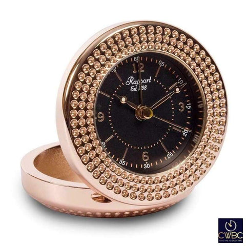 Rapport Home, Furniture & DIY:Clocks:Desk, Mantel & Carriage Clocks Rapport Rosette Black and Rose Gold A291 Travel Alarm Clock