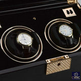 Rapport Jewellery & Watches:Watches, Parts & Accessories:Boxes, Cases & Watch Winders Rapport Black Rose Duo 2 Watch Winder Gloss Black