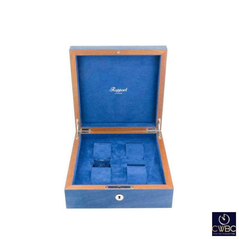 Rapport Jewellery & Watches:Watches, Parts & Accessories:Boxes, Cases & Watch Winders Rapport Hand Crafted Solid Wood Heritage 4 Watch Box in Blue