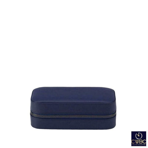 Rapport Jewellery & Watches:Watches, Parts & Accessories:Boxes, Cases & Watch Winders Rapport Hyde Park Blue Leather 2 Watch Divider Zip Case