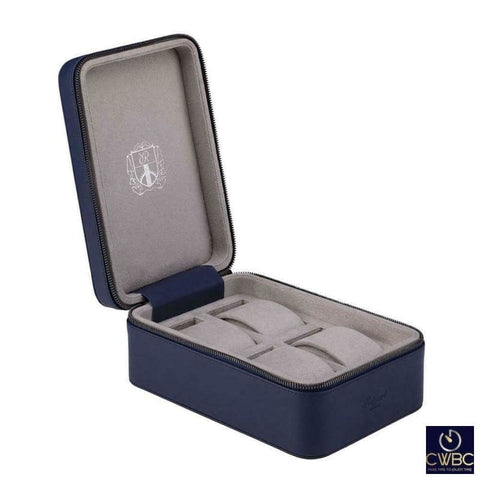 Rapport Jewellery & Watches:Watches, Parts & Accessories:Boxes, Cases & Watch Winders Rapport Hyde Park Blue Leather 4 Watch Zip Case with Suede Lining