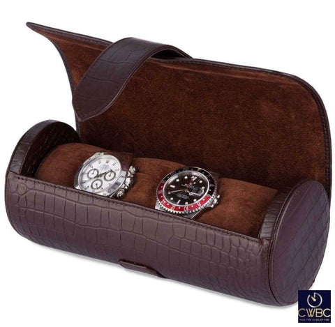 Rapport Jewellery & Watches:Watches, Parts & Accessories:Boxes, Cases & Watch Winders Rapport Portman Brown Leather Crocodile Pattern 3 Watch Roll