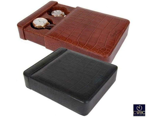 Rapport Jewellery & Watches:Watches, Parts & Accessories:Boxes, Cases & Watch Winders Rapport Portman Double Slipcase in Brown Leather Crocodile Pattern