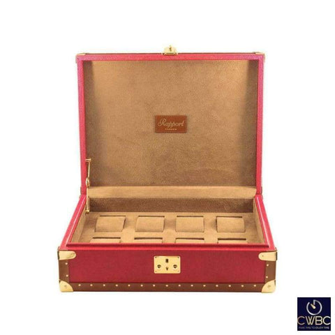 Rapport Jewellery & Watches:Watches, Parts & Accessories:Boxes, Cases & Watch Winders Rapport Red Leather Classic Eight Watch Box with Gold Fitments