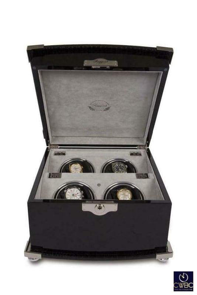 Rapport Jewellery & Watches:Watches, Parts & Accessories:Boxes, Cases & Watch Winders Rapport Serpentine Quad 4 Watch Winder Black Leather finished