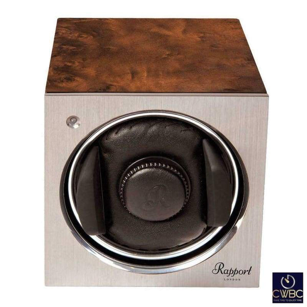 Rapport Jewellery & Watches:Watches, Parts & Accessories:Boxes, Cases & Watch Winders Rapport Tetra Mono Single Watch Winder Aluminium Faced with Walnut Case
