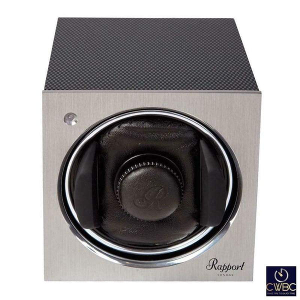 Rapport Jewellery & Watches:Watches, Parts & Accessories:Boxes, Cases & Watch Winders Rapport Tetra Mono Watch Winder, Brushed Aluminium and Carbon Fibre finish