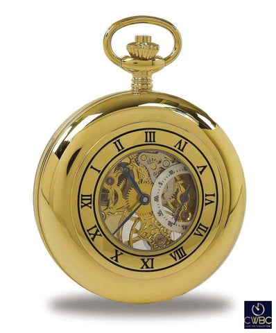 Rapport Jewellery & Watches:Watches, Parts & Accessories:Pocket Watches Rapport Oxford Mechanical Half Hunter Skeleton Pocket Watch. Gold Plated Metal P