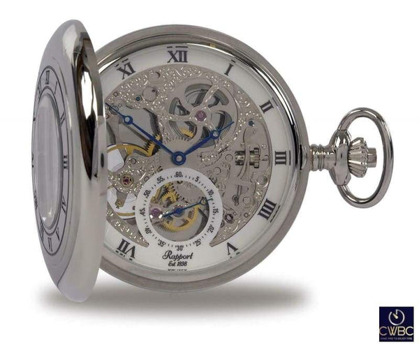 Rapport Jewellery & Watches:Watches, Parts & Accessories:Pocket Watches Rapport Oxford Mechanical Half Hunter Skeleton Pocket Watch. Silvertone