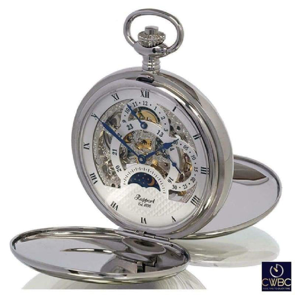 Rapport Jewellery & Watches:Watches, Parts & Accessories:Pocket Watches Rapport Oxford Mechanical Hunter Open Pocket Watch. Silvertone polished PW41
