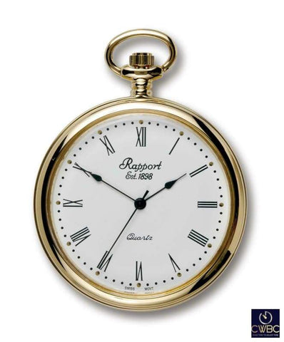 Rapport Jewellery & Watches:Watches, Parts & Accessories:Pocket Watches Rapport Oxford Quartz Open Faced Pocket Watch Gold Plated PW50