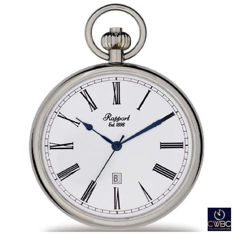 Rapport Jewellery & Watches:Watches, Parts & Accessories:Pocket Watches Rapport Oxford Quartz Open Faced Pocket Watch Polished Silver-tone case