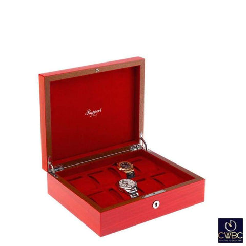 Rapport Rapport Heritage Hand-Crafted Solid Wood 8 Watch Box in Red