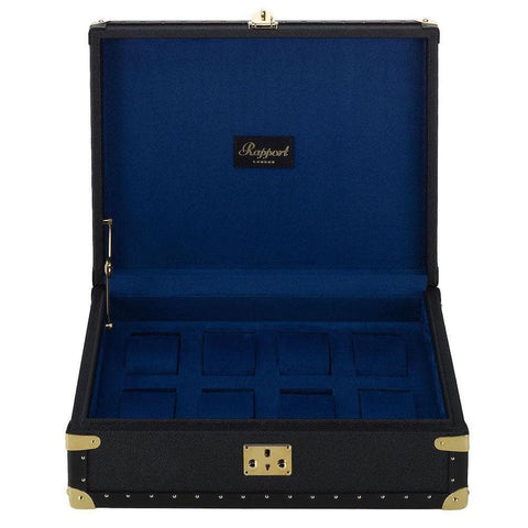 Rapport Rapport Navy Blue Leather Classic Eight Watch Box with Gold Fitments
