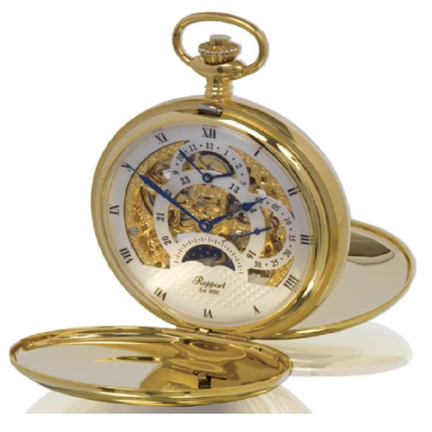 Rapport Rapport Oxford Mechanical HunterOpen Pocket Watch. Gold Plated Metal PW40