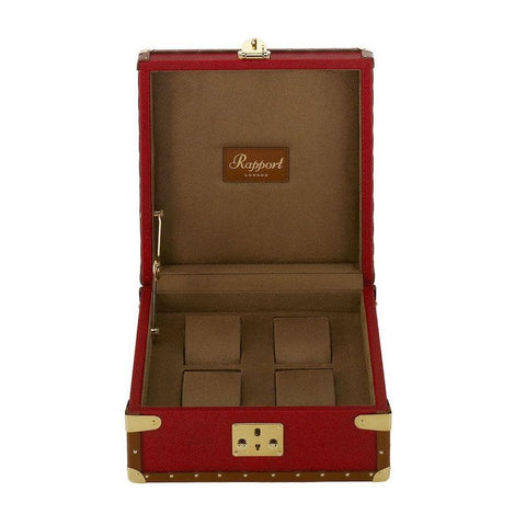Rapport Rapport Red Classic Leather Four Watch Box with Gold Fitments