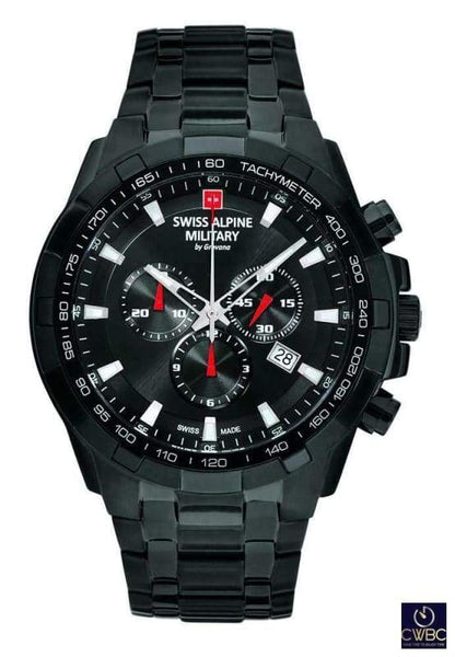 Swiss Alpine Military Jewellery & Watches:Watches, Parts & Accessories:Wristwatches Swiss Alpine Military Chrono Watch PVD Black case with PVD Steel Bracelet