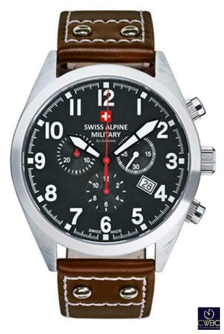 Swiss Alpine Military Jewellery & Watches:Watches, Parts & Accessories:Wristwatches Swiss Alpine Military Leader Chrono With Brown Leather Strap Wrist Watch