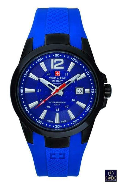 Swiss Alpine Military Jewellery & Watches:Watches, Parts & Accessories:Wristwatches Swiss Alpine Military PVD Black Cased Watch with PU Blue strap