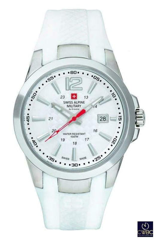Swiss Alpine Military Jewellery & Watches:Watches, Parts & Accessories:Wristwatches Swiss Alpine Military PVD Steel Case watch with PU White Strap