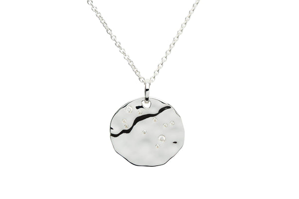 Unique & Co Unique & Co Hammered Sterling Silver & Cubic Zirconia Zodiac Constellation Gemini Birthday Necklace Pendant