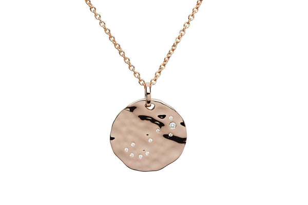 Unique & Co Unique & Co Hammered Sterling Silver Rose Gold Plated & Cubic Zirconia Zodiac Constellation Scorpio Birthday Necklace Pendant