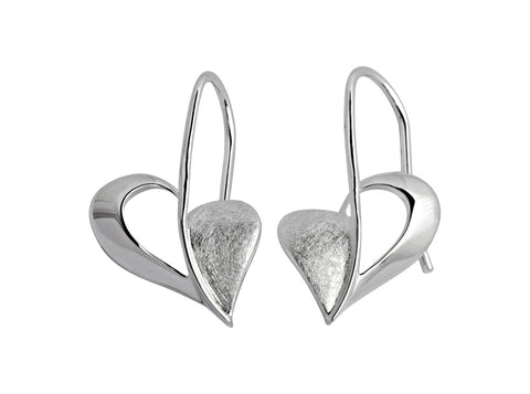 Unique & Co Unique & Co Sterling Silver Double Love Heart Dangle Drop Earrings