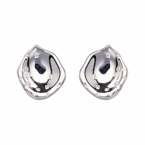 Unique & Co Unique & Co Sterling Silver Hammered Diamante Stud Earrings
